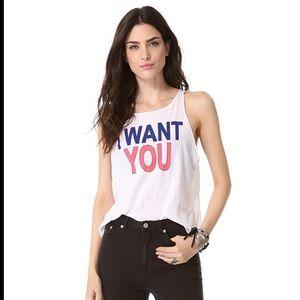 """Pink-white """"I want you"""" Cassidy wildfox tank"""